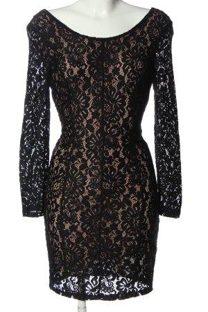 Sisley Vestido de encaje negro-nude elegante