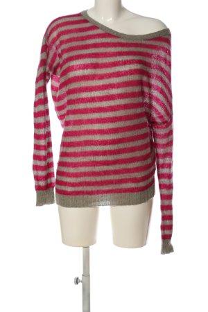 Sisley Strickpullover hellgrau-pink Streifenmuster Casual-Look