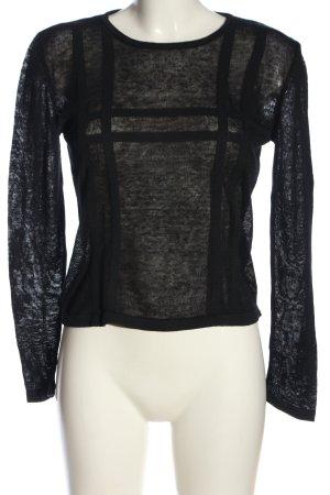 Sisley Rundhalspullover schwarz Streifenmuster Casual-Look
