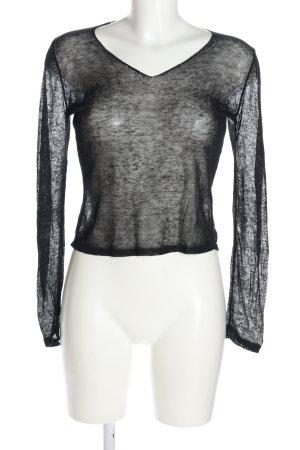 Sisley Strickshirt schwarz meliert Casual-Look