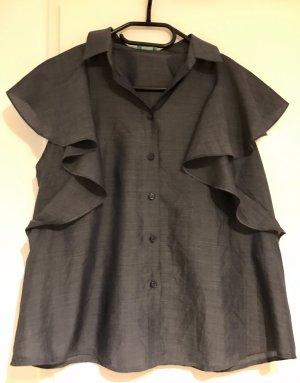 Sisley: Süsse Jeanslook Bluse mit Volant Kurzarm Lyocell M NEU und ungetragen