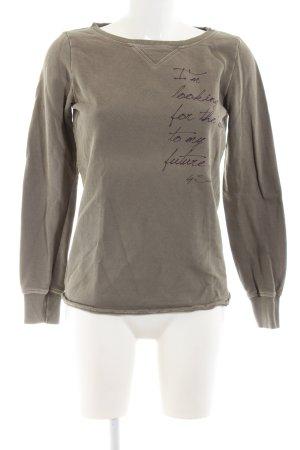 Sisley Sweatshirt braun Schriftzug gedruckt Casual-Look