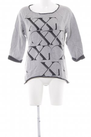 Sisley Sweatshirt hellgrau-schwarz Schriftzug gedruckt Casual-Look