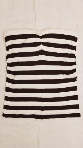 Sisley Top a fascia bianco-marrone scuro