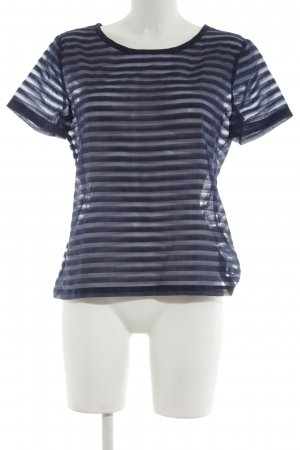 Sisley Transparenz-Bluse blau-schwarz Streifenmuster Casual-Look