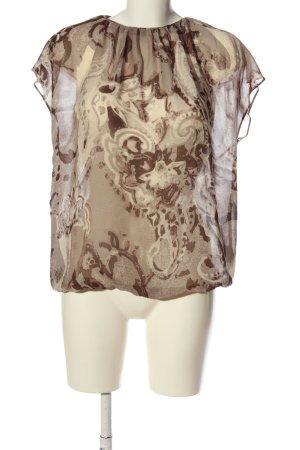 Sisley Transparenz-Bluse braun-wollweiß abstraktes Muster Business-Look