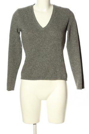 Sisley V-Ausschnitt-Pullover hellgrau meliert Casual-Look