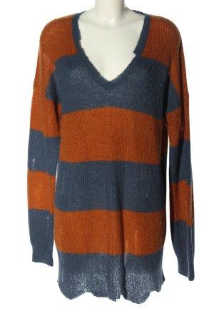 Sisley V-Ausschnitt-Pullover blau-hellorange Streifenmuster Casual-Look
