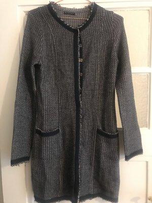 Sisley Gebreide jas lichtgrijs-donkerblauw