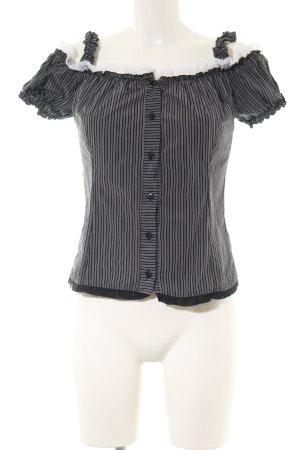 Siste's Kurzarm-Bluse schwarz-weiß Streifenmuster Elegant