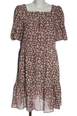 sisters Vestido de manga corta marrón-blanco puro estampado de leopardo
