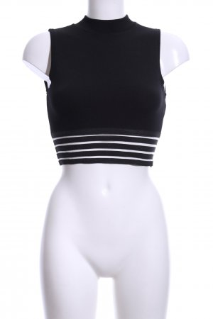 Sisters point Cropped Top schwarz-weiß Streifenmuster Casual-Look