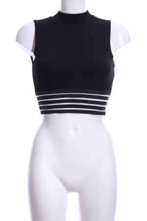 Sisters point Top corto nero-bianco motivo a righe stile casual