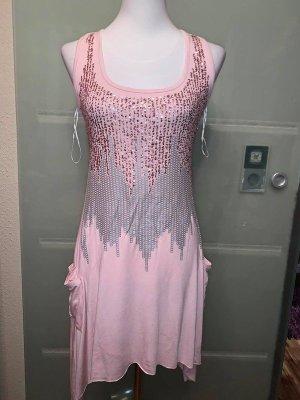 Sisters Point Kleid Tunika Bluse in gr 40 Farbe Rosa mit Paietten veredellt seitich Taschen