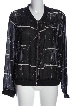 Sisters point Übergangsjacke schwarz-weiß abstraktes Muster Casual-Look