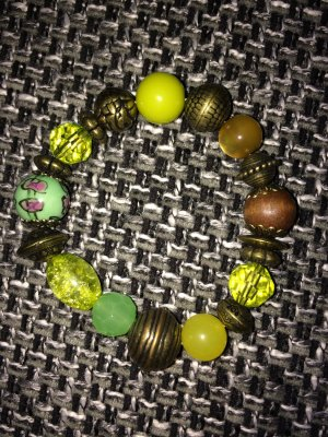 SIX Armband grün, goldfarben