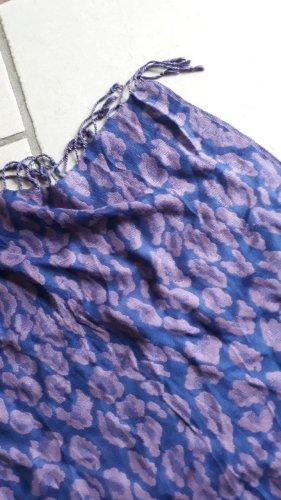 Six Fringed Scarf blue violet-blue