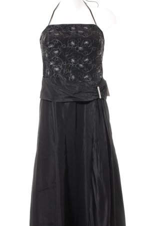 Sixth Sense Evening Dress black-silver-colored flower pattern party style