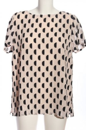 Sixth Sense Kurzarm-Bluse creme-schwarz abstraktes Muster Casual-Look