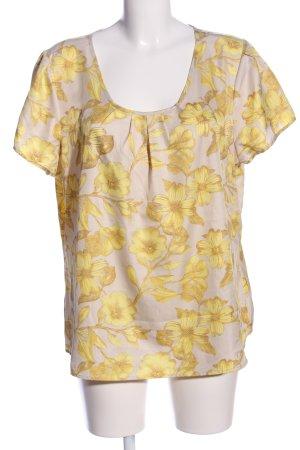 Sixth Sense Kurzarm-Bluse wollweiß-blassgelb Blumenmuster Elegant