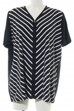 Sixth Sense Short Sleeved Blouse black-white striped pattern casual look