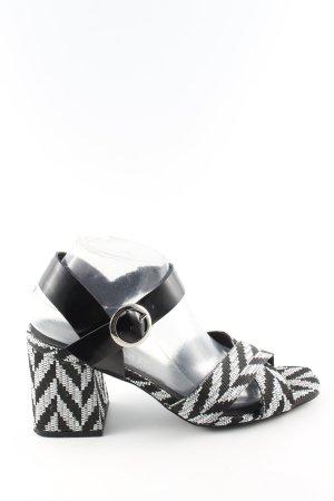 Sixtyseven High Heel Sandaletten schwarz-weiß grafisches Muster Casual-Look