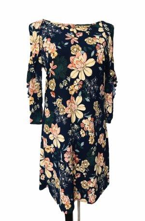 SJS Damen Kleid dunkelblau Bunt Blumen L