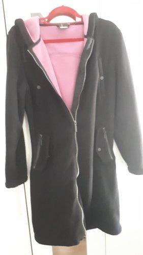 Manteau polaire noir-rose