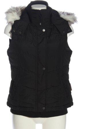 Skag Fake Fur Vest black quilting pattern casual look