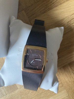 Skagen Horloge met metalen riempje donkerbruin-lichtbruin