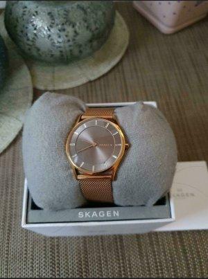 Skagen Reloj con pulsera metálica color rosa dorado
