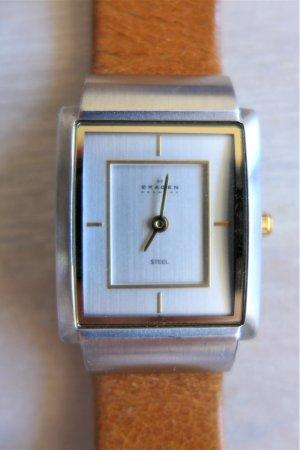 Skagen Denmark Damen Armbanduhr schmal cognac silber gold