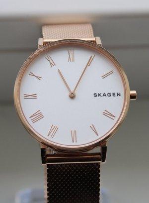 Skagen Reloj con pulsera metálica color rosa dorado-blanco