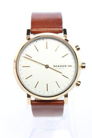 Skagen Montre avec bracelet en cuir brun-doré style d'affaires