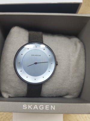 Skagen Montre avec bracelet métallique gris foncé-bleu azur