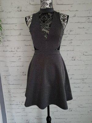 Skater-Kleid mit Netzdetails Gr 34 grau schwarz New Look