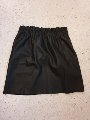 Zara Knit Jupe en cuir synthétique noir