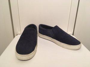 H&M Chaussure skate bleu foncé-blanc cuir
