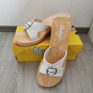 Skechers Sandalias con plataforma blanco-marrón arena Cuero