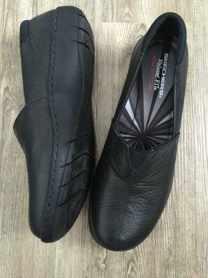 Skechers Damen Schuhe Slipper Relaxed Fit Memory Foam Größe 40 schwarz Leder