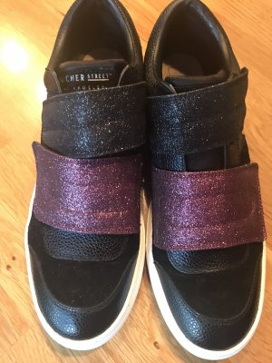Skechers Basket velcro noir-rose fluo