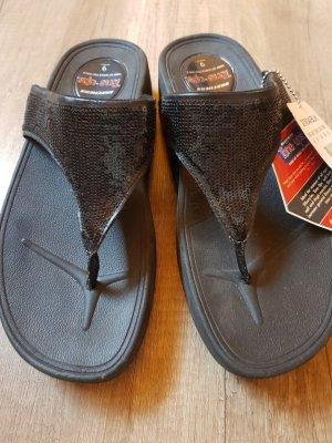 Skechers Sandalias de tacón con barra en T negro