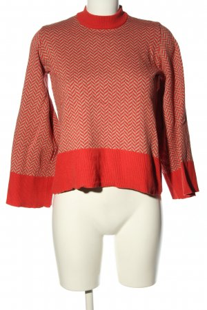 SKFK Strickpullover rot-hellgrau grafisches Muster Casual-Look