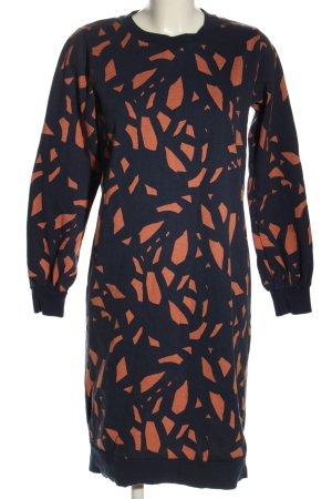SKFK Sweatkleid schwarz-hellorange abstraktes Muster Casual-Look