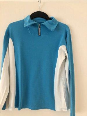 Alive Turtleneck Sweater neon blue-white cotton