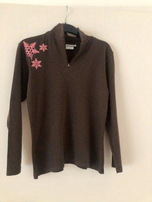 Alive Sweter z golfem brązowy-różowy Bawełna