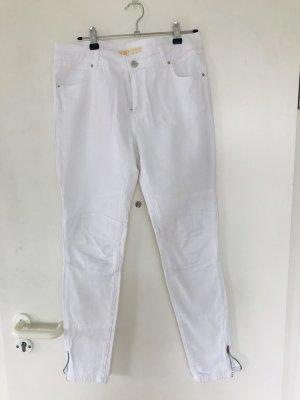 Jeansy typu biker biały