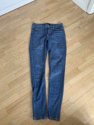 "Skinny-Fit Jeans von Pieces im ""used-Look"""