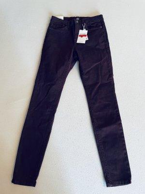 C&A Pantalon taille haute rouge mûre