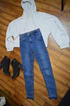 Skinny High Waist Open Hem Jeans 36 Nakd